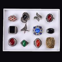Кольца с камнями, цинковый сплав, с Бумажная коробка & Полудрагоценный камень & Кристаллы, Другое покрытие, граненый & со стразами & разнообразный, не содержит свинец и кадмий, 16-19mm, размер:6-9, 12ПК/Box, продается Box