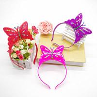 пластик Повязка для волос, бабочка, для детей & LED & со стразами, Много цветов для выбора, 110x180mm, 3ПК/сумка, продается сумка