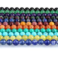 Бусины из поделочных камней, Полудрагоценный камень, Круглая, различные материалы для выбора, 8mm, отверстие:Приблизительно 1mm, Приблизительно 47ПК/Strand, Продан через Приблизительно 15 дюймовый Strand