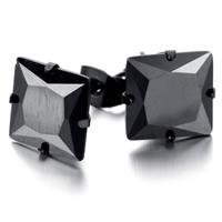 титан Сережка-гвоздик, Kресты, черный покрытием, с кубическим цирконием, 9x10mm, продается Пара