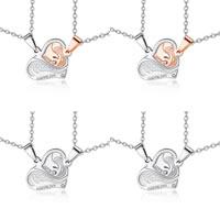 Ожерелье-пара, нержавеющая сталь, Сердце, словом, я люблю тебя, Овальный цепь & со стразами, Много цветов для выбора, 27x24mm, длина:Приблизительно 23.5 дюймовый, продается указан