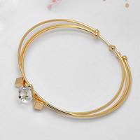 Кристалл браслеты, Латунь, с Кристаллы, плакирован золотом, Женский & 3-нить & граненый, не содержит никель, свинец, 55mm, внутренний диаметр:Приблизительно 55mm, длина:Приблизительно 6.5 дюймовый, продается указан