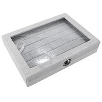 Бархатная коробочка для кольца, Бархат, с Клей Фильм & цинковый сплав, Прямоугольная форма, черный свнец, серый, 245x177x48mm, продается PC
