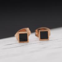 титан Сережка-гвоздик, Квадратная форма, плакированный цветом розового золота, эмаль, 4x4mm, продается Пара
