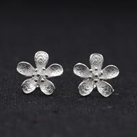Серебро 925 пробы Сережка-гвоздик, Форма цветка, плакирован серебром, 11x11mm, продается Пара