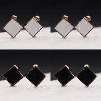 титан Сережка-гвоздик, плакированный цветом розового золота, эмаль, Много цветов для выбора, 14x14mm, продается Пара