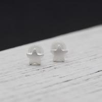 Серебро 925 пробы Сережка-гвоздик, с Пластиковые вилки для ухи, Звезда, плакирован серебром, 5x5mm, продается Пара