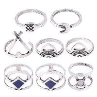 Модные кольца, цинковый сплав, с канифоль, плакированный цветом под старое серебро, Женский & эмаль, не содержит никель, свинец, размер:3-8, 8ПК/указан, продается указан