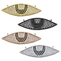 Цирконий Micro Pave латунь подвеска, Латунь, Лошадиный глаз, Другое покрытие, инкрустированное микро кубического циркония & двойное отверстие, Много цветов для выбора, не содержит никель, свинец, 30x10x2mm, отверстие:Приблизительно 0.5mm, 5ПК/Лот, продается Лот