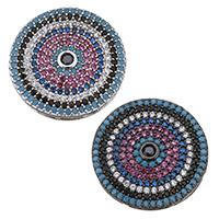 Цирконий Micro Pave латунь подвеска, Латунь, Плоская круглая форма, Другое покрытие, инкрустированное микро кубического циркония, Много цветов для выбора, не содержит никель, свинец, 19x3mm, отверстие:Приблизительно 0.5x6mm, 3ПК/Лот, продается Лот