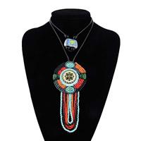 Ожерелья из полимерной смолы, канифоль, с кожаный шнур & Стеклянный бисер, Женский & двунитевая, 70mm, 150mm, Продан через Приблизительно 22.2 дюймовый Strand