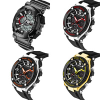 Часы унисекс, нержавеющая сталь, с Резинка & канифоль & пластик, Другое покрытие, многофункциональный & Мужская & регулируемый & водонепроницаемый, Много цветов для выбора, 54x27mm, длина:Приблизительно 9.5 дюймовый, продается PC