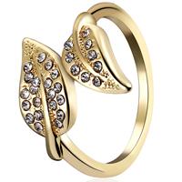 Модные кольца, цинковый сплав, Листок, KC Золотой цвет покрытием, разный размер для выбора & Женский & со стразами, не содержит свинец и кадмий, 16mm-19mm, продается Пара