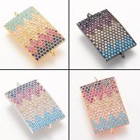 Цирконий Micro Pave Латунный разъем, Латунь, Прямоугольная форма, Другое покрытие, инкрустированное микро кубического циркония & 1/1 петля, Много цветов для выбора, не содержит свинец и кадмий, 25.7x14.8mm, отверстие:Приблизительно 2-3mm, 5ПК/сумка, продается сумка