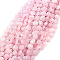 Природные Бисер розовый кварц, Плоская круглая форма, натуральный, граненый, 12x12x5mm, отверстие:Приблизительно 0.5mm, Приблизительно 33ПК/Strand, Продан через Приблизительно 16 дюймовый Strand