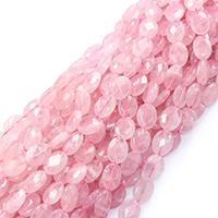 Природные Бисер розовый кварц, Плоская овальная форма, натуральный, разный размер для выбора & граненый, отверстие:Приблизительно 0.5-1mm, Продан через Приблизительно 16 дюймовый Strand