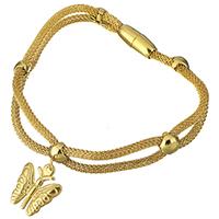 Трубка браслет, нержавеющая сталь, бабочка, плакирован золотом, браслет-оберег & Сетка цепь & Женский, 16x18.5mm, 3mm, 16x7mm, Продан через Приблизительно 8 дюймовый Strand