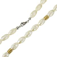 Ожерелья из полимерной смолы, смола Перл, с нержавеющая сталь, Другое покрытие, Женский, 13x8mm, 6x6mm, Продан через Приблизительно 20 дюймовый Strand