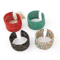 Стеклянный бисер браслет-манжеты, с цинковый сплав, плакирован золотом, регулируемый & Женский, Много цветов для выбора, 36mm, внутренний диаметр:Приблизительно 64mm, продается PC