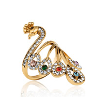 цинковый сплав Манжеты палец кольцо, Павлин, плакирован золотом, различный внутренний диаметр по выбору & Женский & со стразами, не содержит свинец и кадмий, 41mm, продается PC
