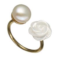 Кольца с жемчуком, Латунь, с Белая ракушка & Пресноводные жемчуги, плакирован золотом, природный & Женский, не содержит никель, свинец, 10x20x25mm, размер:6.5, продается PC