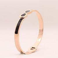 титан браслет на запястье/щиколотку, плакированный цветом розового золота, Женский & эмаль, 10-12mm, внутренний диаметр:Приблизительно 58mm, длина:Приблизительно 7 дюймовый, продается PC