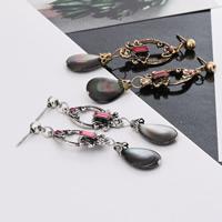 Серьги со стразами, цинковый сплав, с Черная ракушка & Кристаллы, латунь гвоздик, Другое покрытие, Женский, Много цветов для выбора, не содержит никель, свинец, 16x61mm, продается Пара