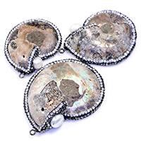 Colgante de piedras preciosas fósiles de amonita, с клей & Пресноводные жемчуги & Латунь, черный свнец, природный & разнообразный, 38-46x48-61x10-12mm, отверстие:Приблизительно 2mm, 5ПК/Лот, продается Лот