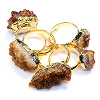 Ледниковый кварц-агат Открыть палец кольцо, с Латунь, плакирован золотом, крашеный & природный & druzy стиль & Женский & разнообразный, 12-24x10-17mm, размер:7, 5ПК/Лот, продается Лот