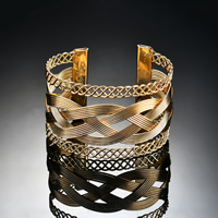 Железо браслет-манжеты, плакирован золотом, Женский, не содержит свинец и кадмий, 67x45mm, внутренний диаметр:Приблизительно 67mm, длина:Приблизительно 8 дюймовый, продается PC
