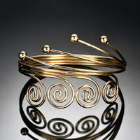 Железо браслет на запястье/щиколотку, плакирован золотом, Женский, не содержит свинец и кадмий, 77x50mm, внутренний диаметр:Приблизительно 77mm, длина:Приблизительно 9.5 дюймовый, продается PC
