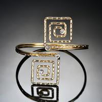 Железо браслет-манжеты, плакирован золотом, Женский & со стразами, не содержит свинец и кадмий, 80x70mm, внутренний диаметр:Приблизительно 80mm, длина:Приблизительно 9.5 дюймовый, продается PC