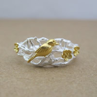 Серебро 925 пробы Манжеты палец кольцо, Форма цветка, Другое покрытие, Матовый металлический эффект & Женский & двухцветный, 5-10mm, размер:6-8, продается PC