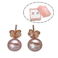 Серьги из жемчуга, Латунь, с Бумажная коробка & Пресноводные жемчуги, плакированный цветом розового золота, природный, не содержит никель, свинец, 7-7.5mm, продается Пара