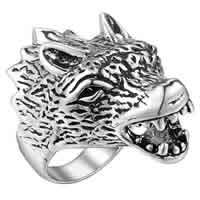 Кольца из латуни, Латунь, Волк, плакированный цветом под старое серебро, Мужский, не содержит никель, свинец, размер:8, продается PC