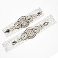 заставка, Кружево, с Кристаллы & Стеклянный бисер & Пластиковая жемчужина, со стразами, 30mm, длина:Приблизительно 18 дюймовый, продается указан