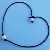 Природное пресноводное жемчужное ожерелье, Пресноводные жемчуги, с коровьей шнур, Рисообразная, натуральный, Женский, белый, 445mm, Продан через Приблизительно 17.5 дюймовый Strand