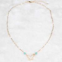 Ожерелья из бирюзы, Латунь, с Синтетическая бирюза, с 5cm наполнитель цепи, бабочка, плакирован золотом, Овальный цепь & Женский, не содержит никель, свинец, 17.5mm, Продан через Приблизительно 17.5 дюймовый Strand