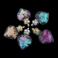 Кулон стеклянный глобус, Стеклянный, с Закручивать шелк & Кристаллы & цинковый сплав, Сердце, Другое покрытие, Много цветов для выбора, 32x50x16mm, отверстие:Приблизительно 2mm, продается PC