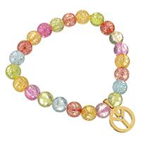 Кристалл браслеты, Кристаллы, с нержавеющая сталь, Мира логотип, плакирован золотом, Женский & со стразами & трещащий, 14x16mm,8mm, Продан через Приблизительно 7 дюймовый Strand