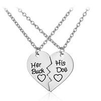 Ожерелье-пара, цинковый сплав, с железный цепи, с 5cm наполнитель цепи, Сердце, плакирован серебром, Овальный цепь & с письмо узором & для пара, не содержит свинец и кадмий, 26x30mm, длина:Приблизительно 17.5 дюймовый, 2Strand/указан, продается указан