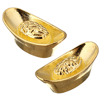 Ювелирные кабошоны из цинкового сплава, цинковый сплав, Слиток, плакирован золотом, плоской задней панелью, не содержит никель, свинец, 20x10x8mm, 500ПК/Лот, продается Лот