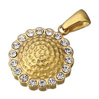 Подвески из горного хрусталя со стразами, нержавеющая сталь, Плоская круглая форма, плакирован золотом, 16x19x7mm, отверстие:Приблизительно 3x5mm, продается PC