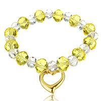 Кристалл браслеты, Кристаллы, с нержавеющая сталь, Сердце, плакирован золотом, браслет-оберег & Женский & граненый, 16x16mm, 8x10mm, Продан через Приблизительно 7 дюймовый Strand