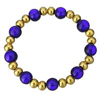 Кристалл браслеты, нержавеющая сталь, с Кристаллы, Круглая, плакирован золотом, Женский, 8mm, 6mm, Продан через Приблизительно 6 дюймовый Strand