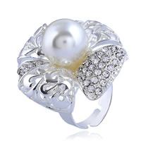 цинковый сплав Открыть палец кольцо, с Пластиковая жемчужина, Форма цветка, Платиновое покрытие платиновым цвет, Женский & со стразами, не содержит никель, свинец, 34mm, размер:6-9, продается PC