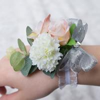 Свадебный браслет, ткань, Форма цветка, свадебный подарок, 100x100mm, 2ПК/сумка, продается сумка