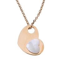 Ожерелье из ракушки, нержавеющая сталь, с Белая ракушка, Сердце, плакированный цветом розового золота, Овальный цепь & Женский, 14x10mm, 1mm, Продан через Приблизительно 15 дюймовый Strand
