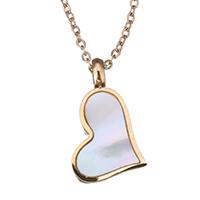 Ожерелье из ракушки, нержавеющая сталь, с Белая ракушка, Сердце, плакированный цветом розового золота, Овальный цепь & Женский, 15.5x9mm, 1mm, Продан через Приблизительно 15 дюймовый Strand