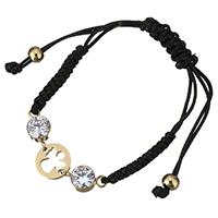 Ожерелья Шамбал, нержавеющая сталь, с Нейлоновый шнурок, плакирован золотом, регулируемый & Женский & со стразами, 10mm, Продан через Приблизительно 10 дюймовый Strand